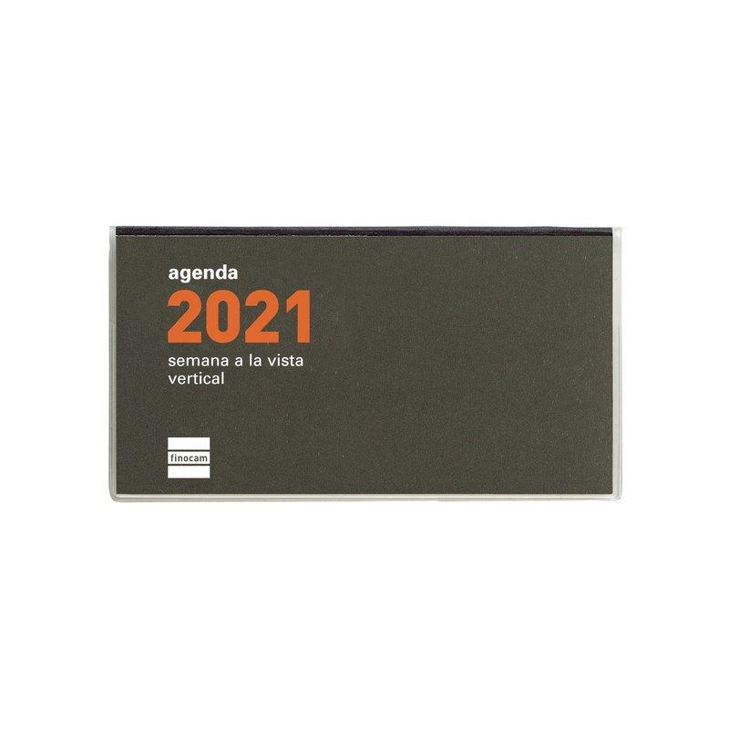 Agenda encuadernada de bolsillo Semana vista vertical 2021 Finocam Min PL1 6,4x11,8cm 331105021