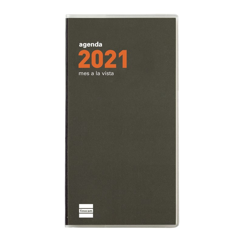 Agenda encuadernada de bolsillo Mes vista 2021 Finocam Min PL4 8x15cm 331135021
