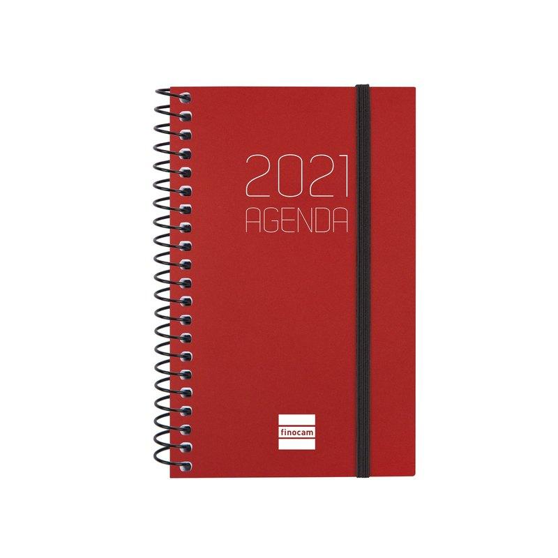 Agenda espiral Semana vista 2021 Finocam Opaque E3 7,9x12,7cm Burdeos 742717421