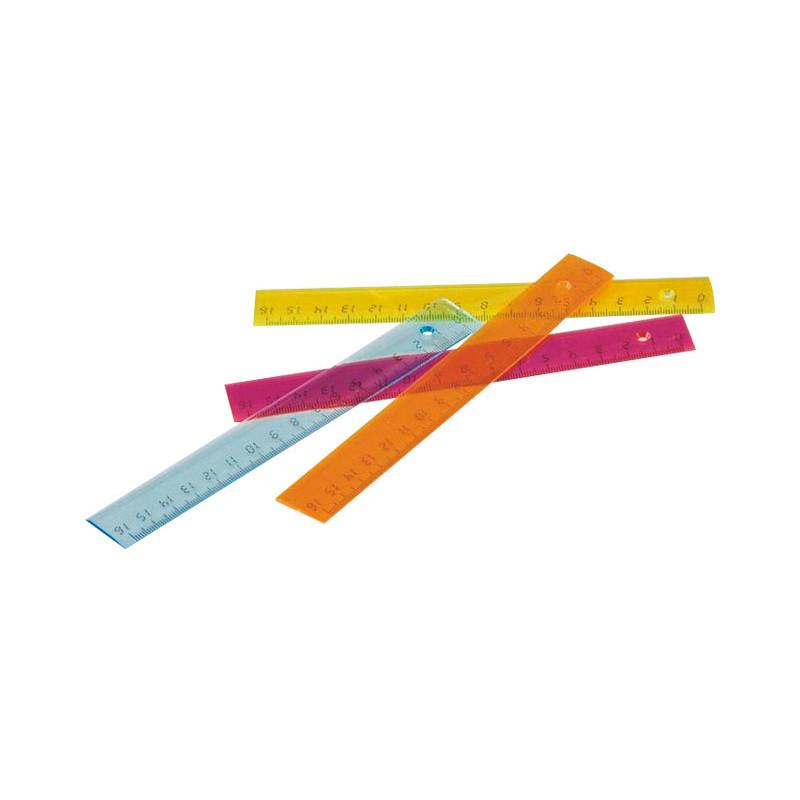 Regla de color transparente plana Faibo 16cm 816-19