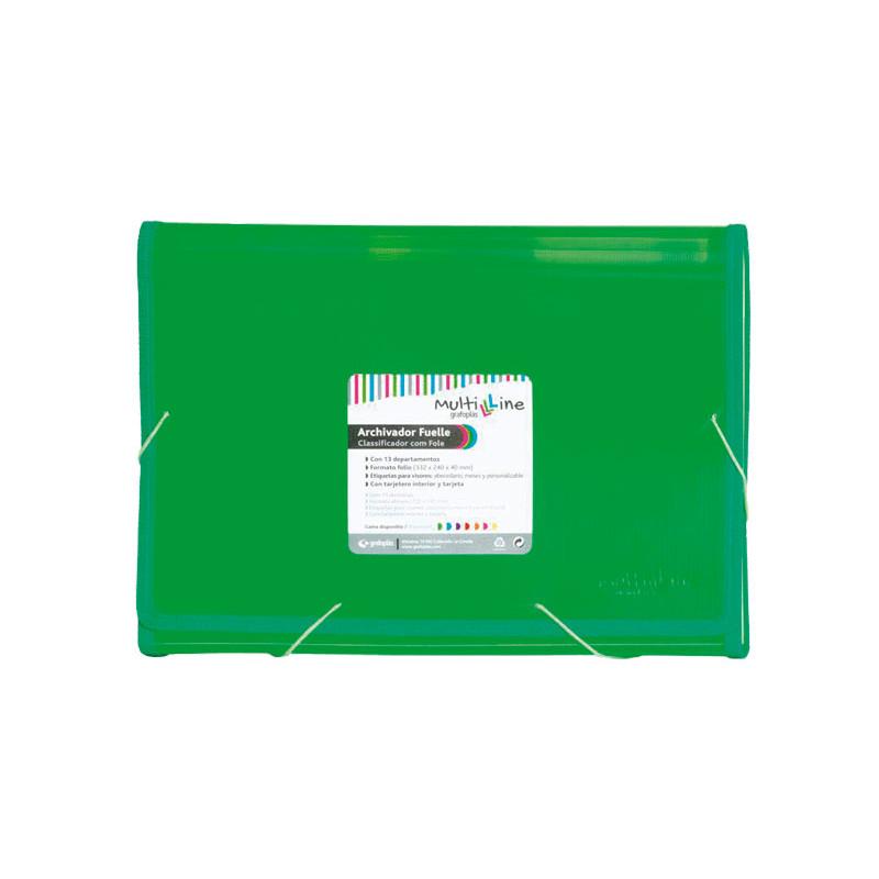 Carpeta clasificadora 13 separadores con fuelle folio Grafoplás Multiline 02963020