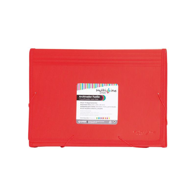 Carpeta clasificadora 13 separadores con fuelle folio Grafoplás Multiline 02963051