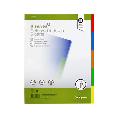 Separadores de PP A4 colores A-Series AS0933