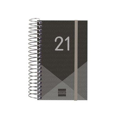 Agenda espiral Día página 2021 Finocam Year E3 7,9x12,7cm Negro 741086021