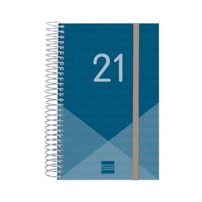 Agenda espiral Día página 2021 Finocam Year E5 11,7x18,1cm Azul 741091021