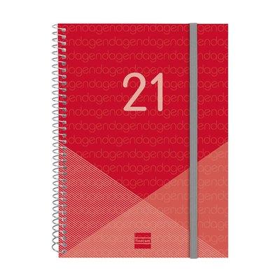 Agenda espiral Semana vista 2021 Finocam Year E10 15,5x21,2cm Rojo 741453021