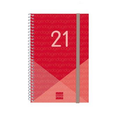 Agenda espiral Semana vista 2021 Finocam Year E5 11,7x18,1cm Rojo 741443021