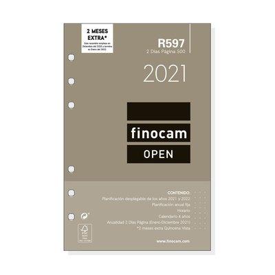 Recambio agenda anual dos días página 2021 Finocam Open 500 R597 711600021