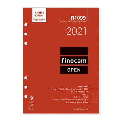 Recambio agenda anual semana vista vertical 2021 Finocam Open 1000 R1099 711520021