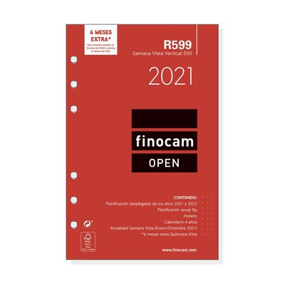 Recambio agenda anual semana vista vertical 2021 Finocam Open 500 R599 711500021