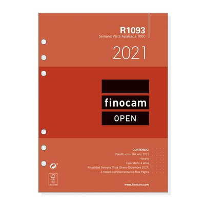 Recambio agenda anual semana vista apaisada 2021 Finocam Open 1000 R1093 711590021