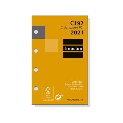 Recambio agenda anual Dos días página 2021 Finocam C197 Classic 601 201270021