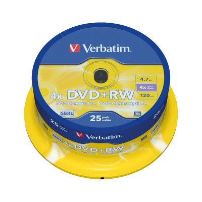 DVD+RW grabable 4,7GB Verbatim Matt Silver 43489